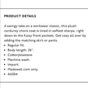 Madewell Jackets & Coats - Madewell Sherpa line corduroy chore jacket
